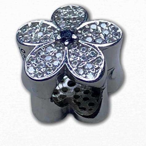 Pandora İçin Uyumlu Işıltılı Mavi Papatya 925 Ayar Gumuş Charm