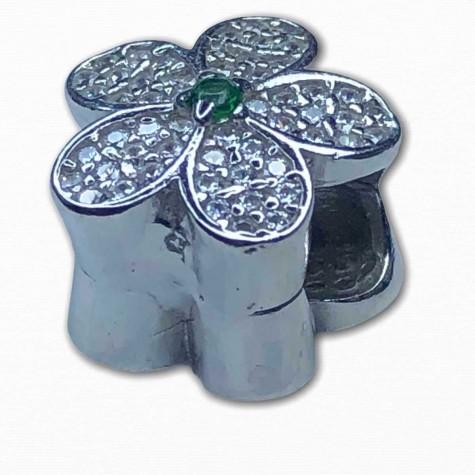 Pandora İçin Uyumlu Işıltılı Yeşil Papatya 925 Ayar Gumuş Charm